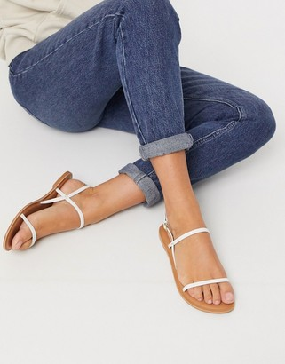 Asos DESIGN Fuse leather flat sandals in white