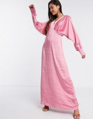 Y.A.S satin maxi dress with empire line and volume sleeve in pink