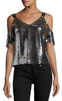 Nanette Lepore Cold-Shoulder Sparkle Sequin Top