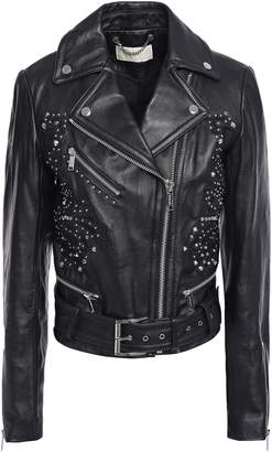 MICHAEL Michael Kors Studded Embroidered Leather Biker Jacket