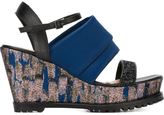 Markus Lupfer rubber sole wedge sandals - women - Leather/Plastic/Satin - 36