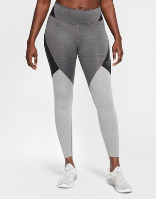 Nike Training one tight colourblock leggings in grey