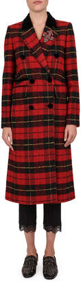 The Kooples Plaid Wool-Blend Double Breasted Coat