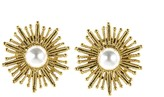 Oscar de la Renta Pearl Sun Star Button Earrings
