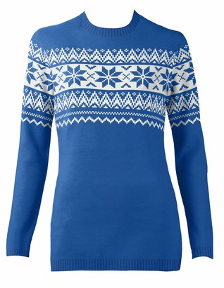 British Christmas Jumpers Women's The Nordic Fairisle Blue Eco Christmas Jumper Pullover Sweater S