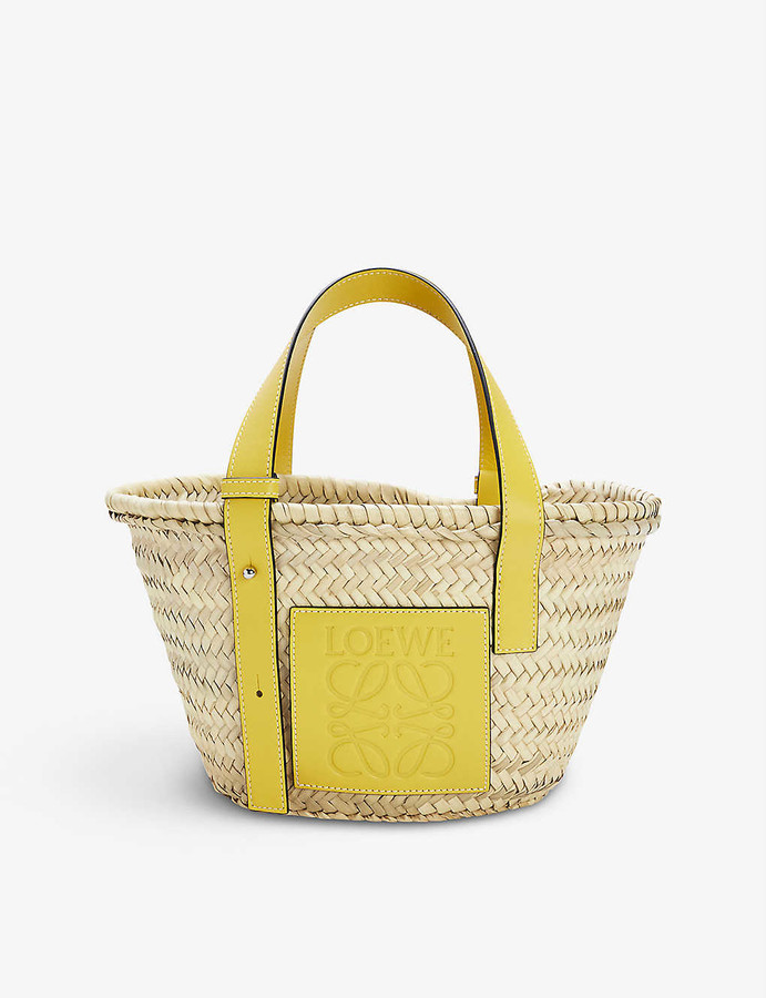 Loewe Small woven raffia basket bag