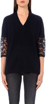Claudie Pierlot Mania crochet-sleeve wool-blend jumper