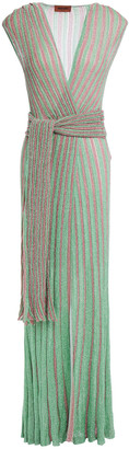 Missoni Wrap-effect Metallic Ribbed Crochet-knit Maxi Dress