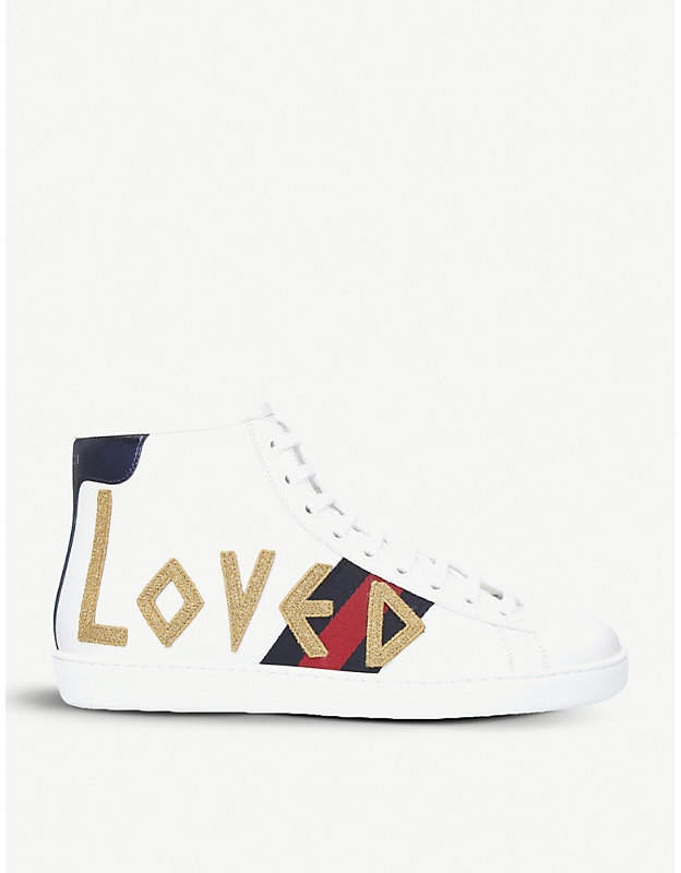 Gucci New Ace embroidered leather high-top trainers
