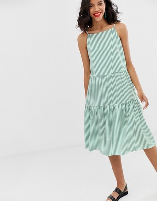 And other stories & gathered pleated midi dress in green and white stripes