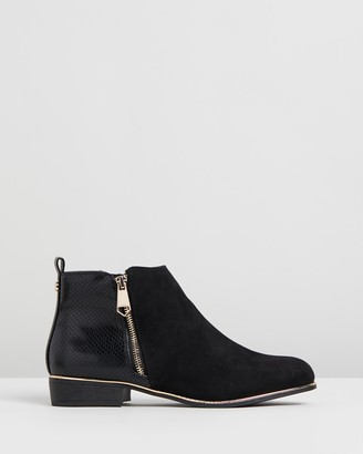 Lipsy Faux Reptile Flat Ankle Boots