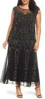 Pisarro Nights Plus Size Women's Illusion Neck Beaded A-Line Gown