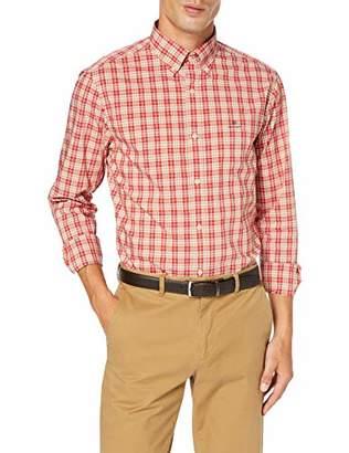 Gant Men's D1. Tp Broadcloth Plaid Reg Bd Casual Shirt, Blood Orange 818, Small