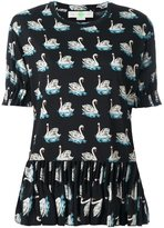 Stella McCartney swan print skirt blouse - women - Silk/Cotton - 46