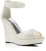 Caparros Chablis Metallic Ankle Strap Wedge Sandals