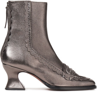 ALEXACHUNG Scalloped Metallic Leather Ankle Boots