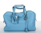 Hermes excellent (EX Blue Jean Clemence 35cm Victoria Bag Palladium Hardware