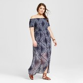 Xhilaration Women's Plus Size Off the Shoulder Maxi Dress Blue Print