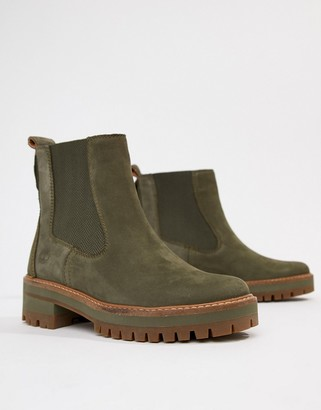 Timberland Courmayeur Valley Olive Leather Chelsea Pull On Ankle Boots-Green