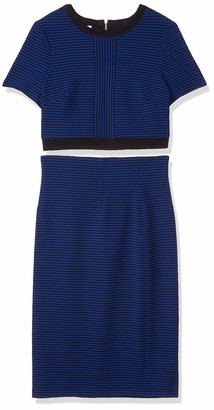 Maggy London Women's Box Stripe Novelty Texture Two-fer