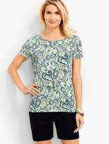 Talbots Paisley Scalloped Tee