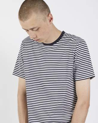 Sunspel Short Sleeve Striped Crew Neck T-Shirt White & Navy
