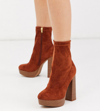 Asos DESIGN Wide Fit Blake platform sock boots in tan