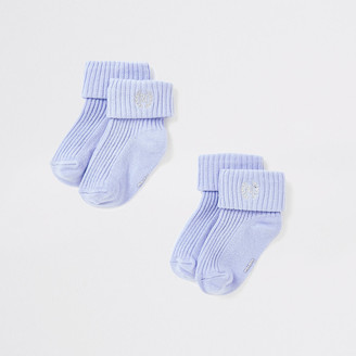 River Island Baby blue RI socks multipack