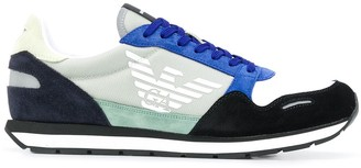 Emporio Armani Suede-Panel Low-Top Trainers