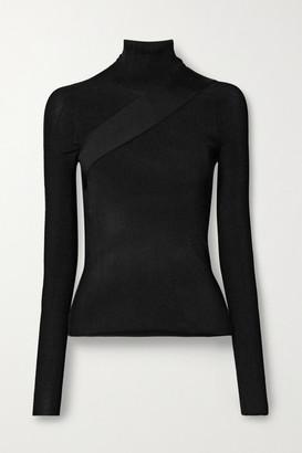 Peter Do Seatbelt Ribbed-knit Turtleneck Top - Black