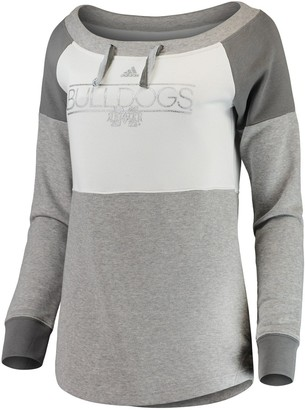 adidas Women's White/Charcoal Mississippi State Bulldogs Wide Neck French Terry Sweatshirt