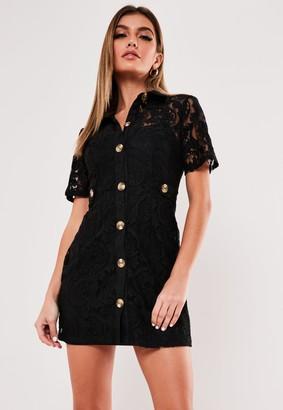 Missguided Petite Black Lace Button Through Shirt Dress