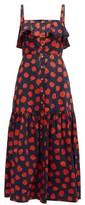 Borgo de Nor Florence Ruffled Polka-dot Cotton Midi Dress - Womens - Red Navy