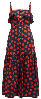 Borgo de Nor Florence Ruffled Polka-dot Cotton Midi Dress - Red Navy