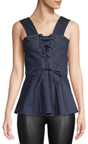 See by Chloe Lace-Front Peplum Top