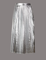 Autograph Metallic Pleated A-Line Midi Skirt