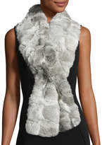 Jocelyn Rabbit Fur Wrap Scarf, Gray