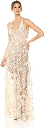 Dress the Population Women's Embellished Plunging Gown Sleeveless Long Dress