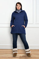 Classic Women's Plus Size Sweater Fleece Parka-Ivory Heather