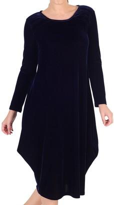 Chesca Tuck Detail Velvet Dress, Midnight