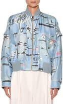 Agnona Zip-Front Palm-Tree Print Silk Bomber Jacket