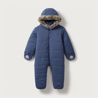 The White Company Quilted Pram Suit, Dark Navy, 0-3mths