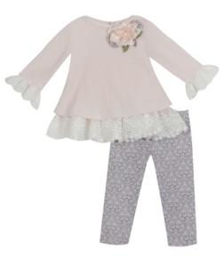 Rare Editions Baby Girls Sweater Set with Ruffle Detail To Printed Legging