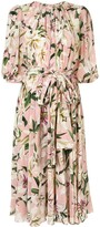 Dolce & Gabbana lily print belted dress