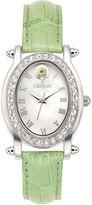 Croton Womens August Birthstone Crystal-Accent Light Green Leather Strap Watch