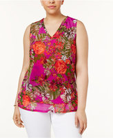 INC International Concepts Plus Size Floral-Print Shell, Only at Macy's