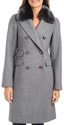 Vince Camuto Faux Fur-Trim Double-Breasted Coat