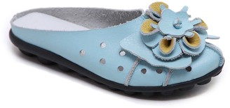 Rumour Has It Women's Mules Turquoise - Turquoise Floral Accent Leather Mule - Women