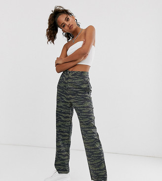 Asos DESIGN Tall camo pants with straight leg and raw hem