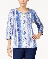 Alfred Dunner Petite Sierra Madre Printed Embelllished Top